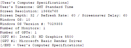 User's Computer Specifications